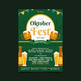 Flache vertikale plakatvorlage für das oktoberfest Kostenlosen Vektoren