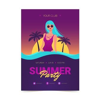 Flache vertikale plakatvorlage für die sommerparty