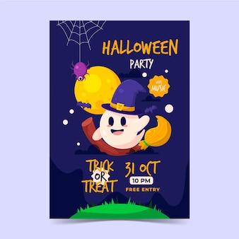 Flache vertikale plakatvorlage für halloween-party