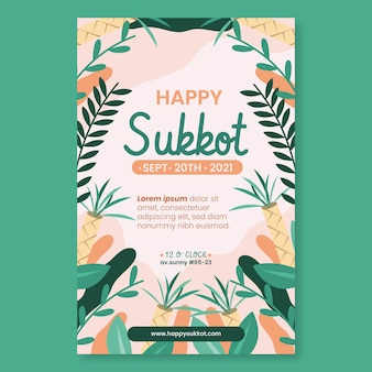 Flache vertikale plakatvorlage für sukkot