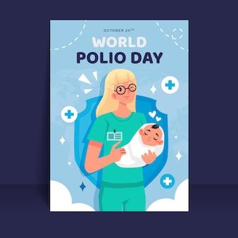 Flache vertikale plakatvorlage zum welt-polio-tag