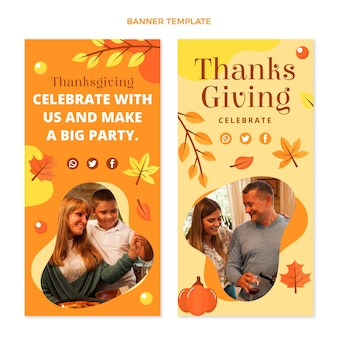 Flache vertikale thanksgiving-banner-set