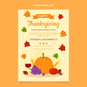 Flache vertikale thanksgiving-plakatvorlage