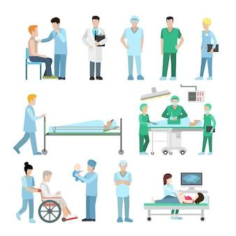 Flache vielfalt an medizinischen materialien und ausrüstungssets. gesundheitswesen, professionelles hilfekonzept. ultraschall-, chirurgen-, therapeuten-, krankenschwester- und babyfiguren.