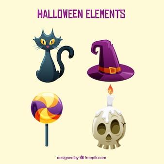 Flache vielfalt von bunten halloween-elementen