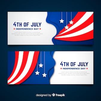 Flache vierte juli banner