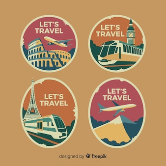 Flache vintage logo reisesammlung