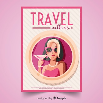 Flache vintage reise plakat vorlage