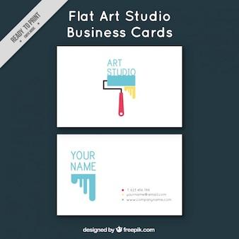 Flache visitenkarte für kunststudio