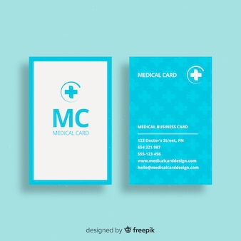 Flache visitenkarte mit medizinischem konzept
