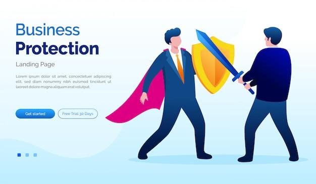 Flache vorlage der unternehmensschutz-landingpage-websiteillustration