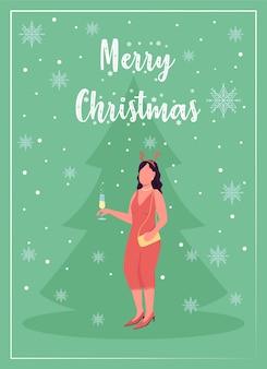 Flache vorlage der weihnachtsfeier-grußkarte. neujahrsveranstaltung. elegante frau. broschüre, broschüre einseitiges konzeptdesign mit comicfiguren. weihnachtszeit. flyer, faltblatt