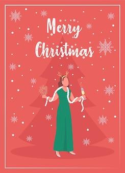 Flache vorlage der winterferienfeiergrußkarte. luxusveranstaltung. weihnachtsbaum. broschüre, broschüre einseitiges konzeptdesign mit comicfiguren. neujahrsfeier flyer, faltblatt