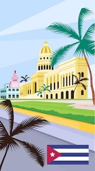 Flache vorlage des kubanischen nationalen kapitolplakats