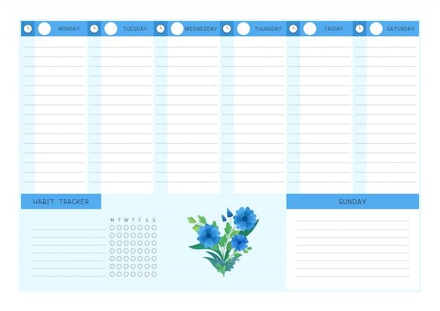 Flache vorlage des wochenplans und der blauen wildblumen des gewohnheitsverfolgers.