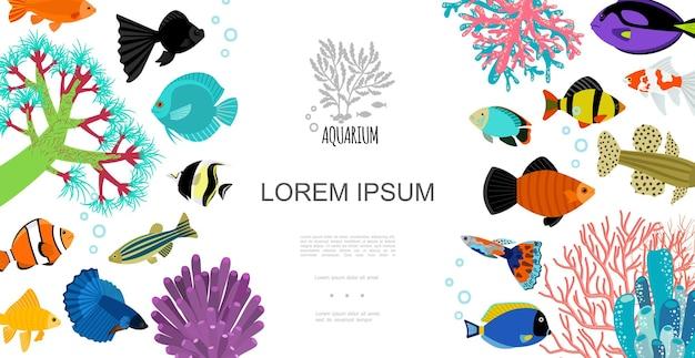 Flache vorlage für aquarienelemente mit bunten fischen, wasserblasen, korallen und seetang