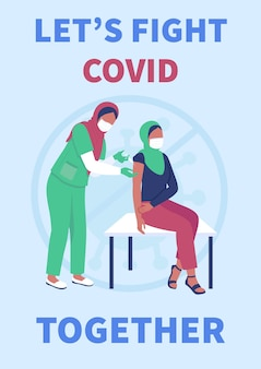 Flache vorlage für impfplakate. covid schutz. muslimische frauen im krankenhaus.