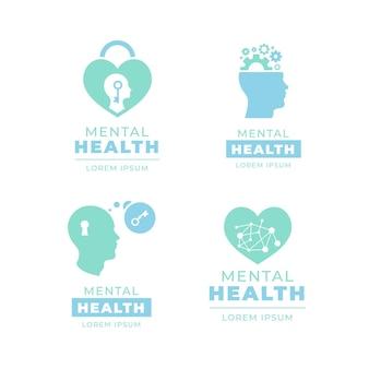 Flache vorlage für logo-vorlagen für psychische gesundheit