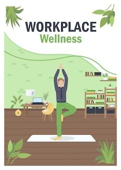 Flache vorlage für wellness-poster am arbeitsplatz.