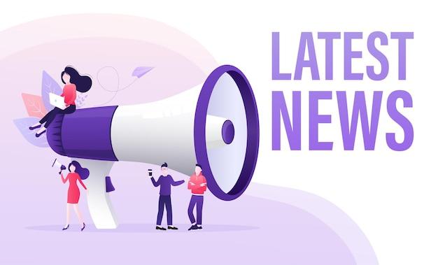 Flache vorlage mit megaphon-leute neuesten nachrichten für flyer-design breaking news-konzept