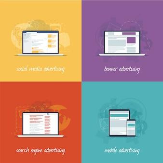 Flache webdesignikonen für internet-marketing-konzepte.