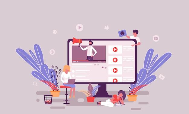 Flache webseitenentwurfsschablone der blogging homepage des videos