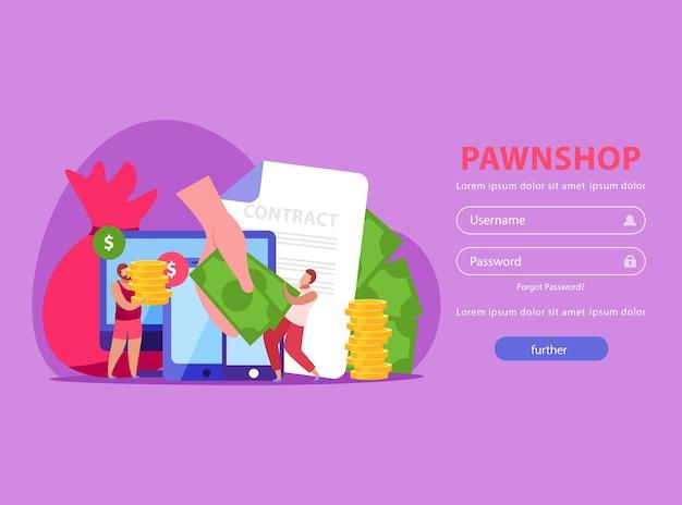 Flache website des pfandhauses mit login-seite mit personenvertrag und geld