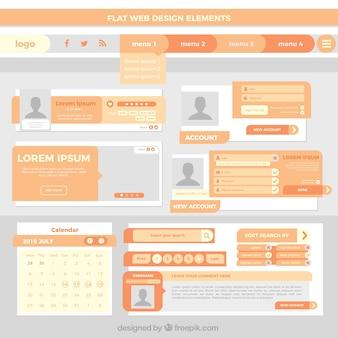 Flache website-elemente in orange farbe