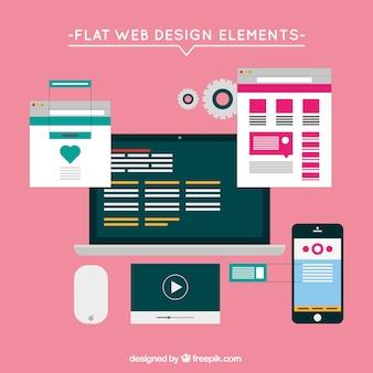 Flache website-elemente mit bildschirmen set