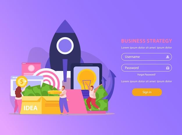 Flache website mit login-formular und crowdfunding-mitarbeitern