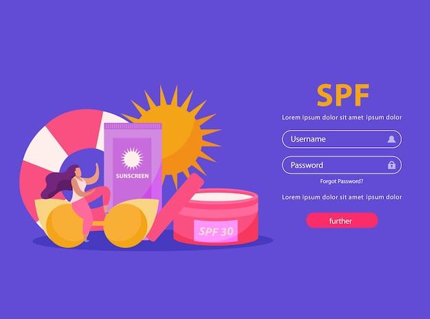 Flache website zur sonnenschutzpflege mit schutzcremes und feldern zur eingabe von benutzername und passwort