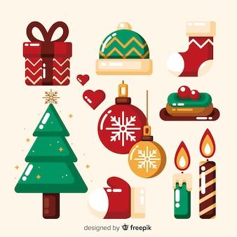 Flache weihnachten elementsammlung