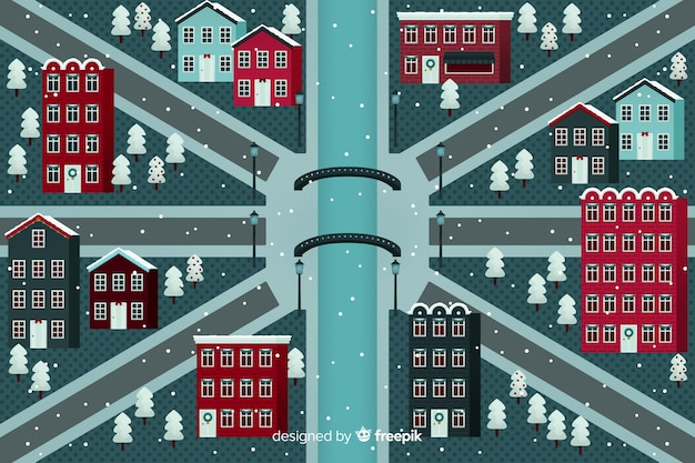 Flache weihnachten futuristische stadt