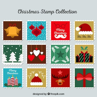 Flache weihnachts-briefmarkensammlung
