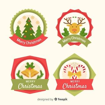 Flache weihnachts-label-auflistung