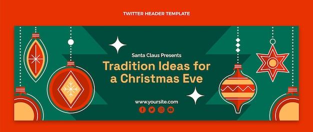 Flache weihnachts-twitter-cover-vorlage