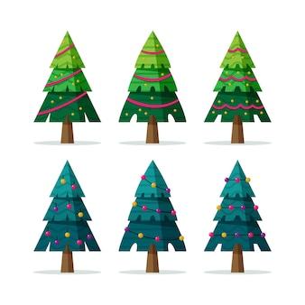 Flache weihnachtsbäume mit ornamenten