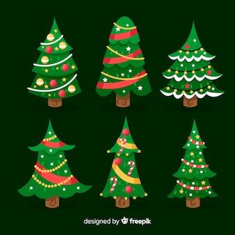 Flache weihnachtsbäume sammlung