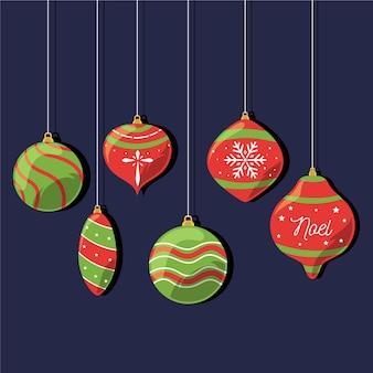 Flache weihnachtsballverzierungen