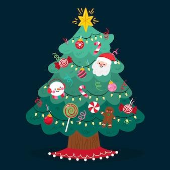 Flache weihnachtsbaum hintergrund
