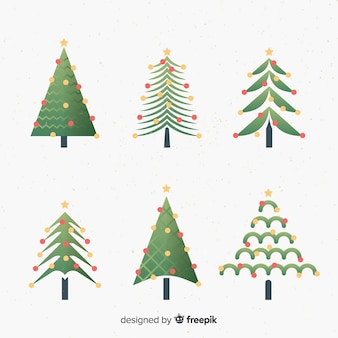 Flache weihnachtsbaum-sammlung