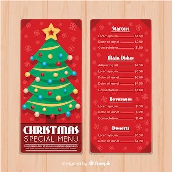 Flache weihnachtsbaum-weihnachtsmenüschablone