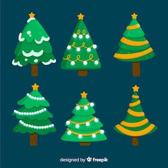 Flache weihnachtsbaumsammlung