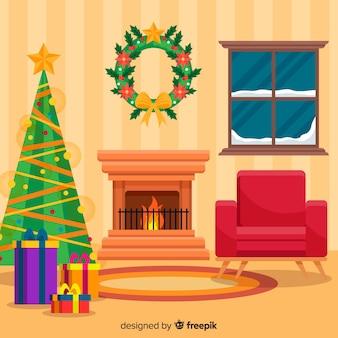 Flache weihnachtsbaumweihnachtskaminszene