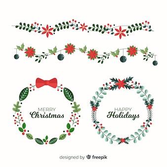 Flache weihnachtsblumen- und -kranzsammlung