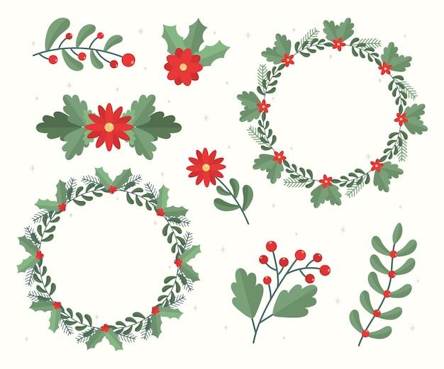 Flache weihnachtsblumen- und kranzsammlung
