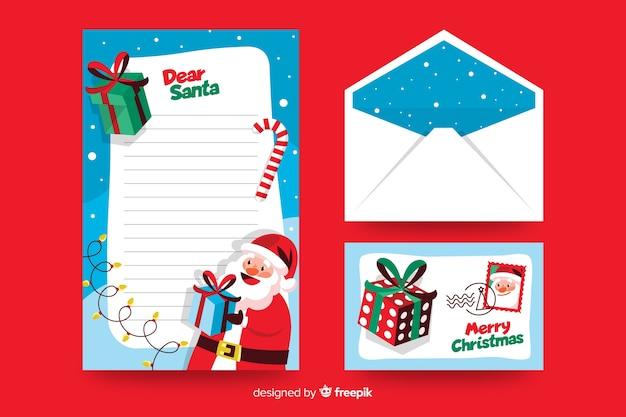 Flache weihnachtsbriefpapierschablone liebe sankt