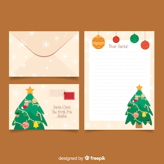 Flache weihnachtsbriefpapierschablone mit weihnachtsbaum