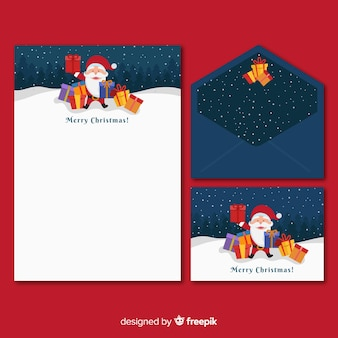 Flache weihnachtsbriefpapierschablone mit weihnachtsmann