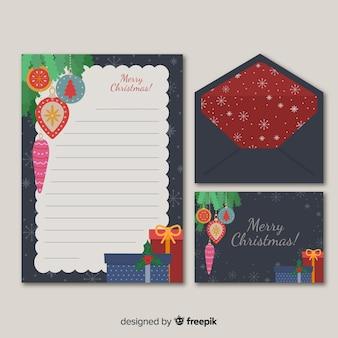Flache weihnachtsbriefpapierschablone und kopienraum